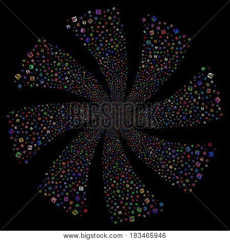Floppy Disk fireworks swirl rotation. Vector illustration style is flat bright multicolored iconic symbols on a black background. Object twirl created from random pictographs.