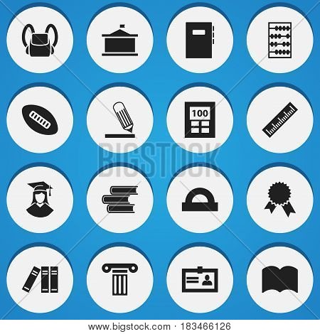 Set Of 16 Editable Graduation Icons. Includes Symbols Such As Workbook, Schoolbag, Certification And More. Can Be Used For Web, Mobile, UI And Infographic Design.