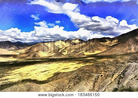 Colorful painting of Brahmaputra River valley, Tibet, China