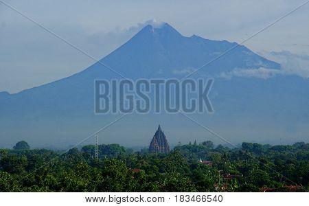 Prambanan and Merapi Mountain in one frame