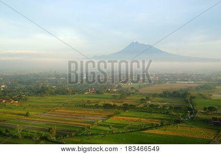 Merapi Mountain from Riyadi Spot, Yogyakarta, Indonesia