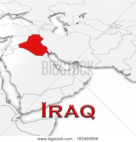 3D Map Of Iraq With Country Name Highlighted Red On White Background 3D Illustration