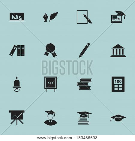 Set Of 16 Editable Education Icons. Includes Symbols Such As Museum, Blackboard, Notepaper And More. Can Be Used For Web, Mobile, UI And Infographic Design.