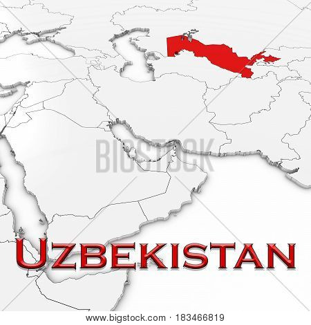 3D Map Of Uzbekistan With Country Name Highlighted Red On White Background 3D Illustration