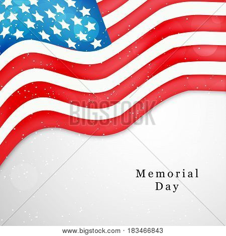 Illustration of USA Flag with text memorial day