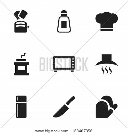 Set Of 9 Editable Cooking Icons. Includes Symbols Such As Cook Cap, Kitchen Hood, Kitchen Glove And More. Can Be Used For Web, Mobile, UI And Infographic Design.