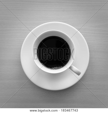 Top view of a cup of hot coffee on wooden table. back and white color. square shap