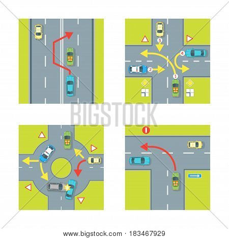 Traffic Conditions Scheme with Car and Arrow Set for City Top View. Vector illustration
