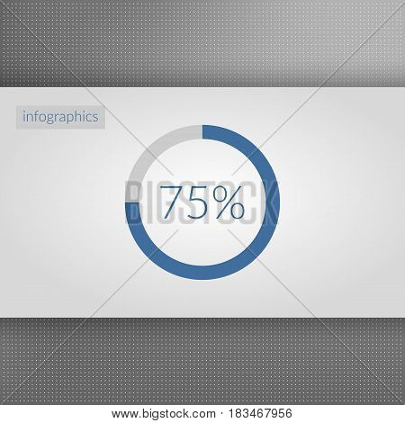 75 percent pie chart symbol. Percentage vector infographics. Circle diagram sign isolated on dotted background. Business icon illustration