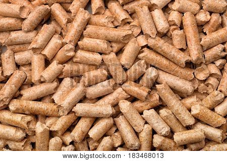 Close up of wood pellets background