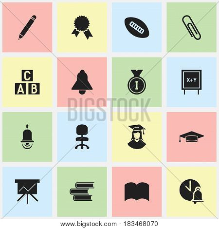 Set Of 16 Editable Science Icons. Includes Symbols Such As Graduated Female, Library, Pencil And More. Can Be Used For Web, Mobile, UI And Infographic Design.