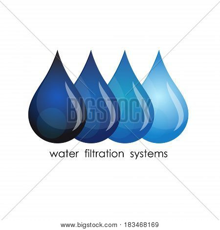 Symbol for water purification. Drops of water grade purification.