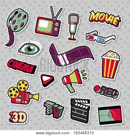Cinema Film Television Patches, Badges, Stickers set with Camera, TV, Tape. Vector Doodle