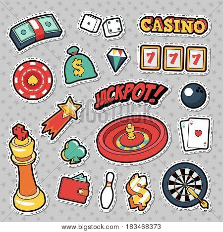 Gambling Casino Badges, Patches and Stickers - Jackpot Roulette Money Cards. Vector Doodle