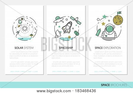 Space Research Business Brochure Template with Linear Thin Line Vector Icons