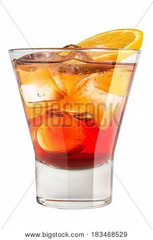 Alcoholic Drink With Ice And Orange Slice