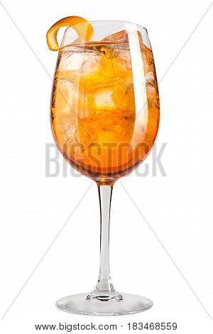 Refreshing Cocktail With Orange Peel Decoration