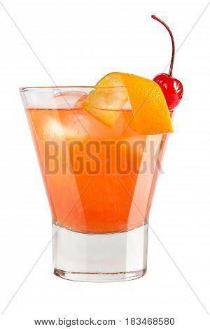 Refreshing Cocktail With Orange Peel And Maraschino Cherry Decoration