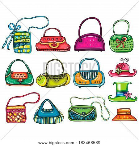 Vector set of beautifully designed colorful woman purses, bags and hats for stylish girls. Cute different shapes, prints and styles. Cartoon Trendy fashion design elements isolated on white background