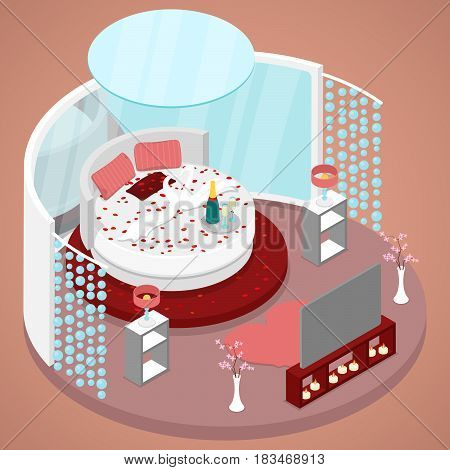 Honeymoon Just Married Room Interior Design with Bed of Flowers. Isometric vector flat 3d illustration
