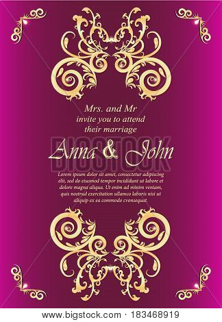 Wedding card Invitation card with golden ornamental on vivid pink background