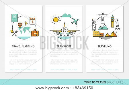 Travel Vacations Business Brochure Template with Linear Thin Line Vector Icons