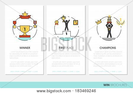 Awards and Trophy Business Brochure Template with Linear Thin Line Vector Icons
