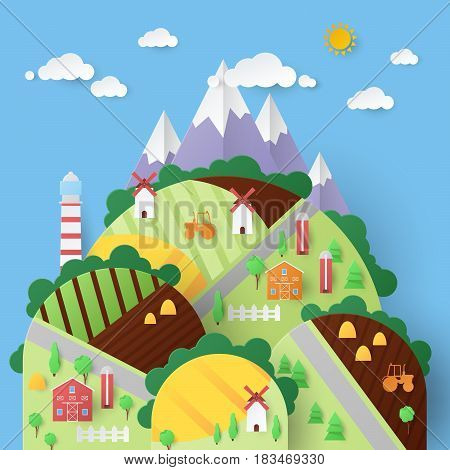 Rural Landscape with Countryside Houses and Mountains. Vector Paper illustration