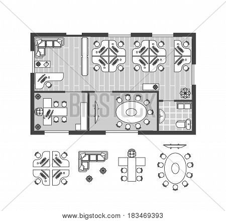 Business Office witch Furniture Thin Line Scheme Work Pace for Cabinet. Interior Design Set Top View. Vector illustration
