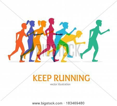 Keep Running Card Runner Color People Silhouette on a White Background Athletes Run in Competition. Vector illustration