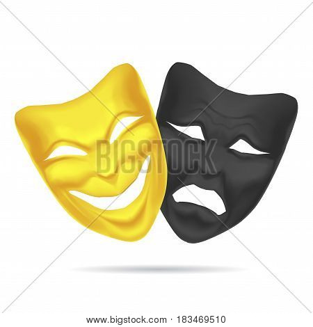 Golden and Black Comedy and Tragedy Mask Theatre. Realistic Couple Expression Happy and Sad for Performance. Vector illustration poster