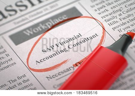 SAP Financial Accounting Consultant - Jobs Section Vacancy in Newspaper, Circled with a Red Highlighter. Blurred Image with Selective focus. Job Search Concept. 3D Illustration.