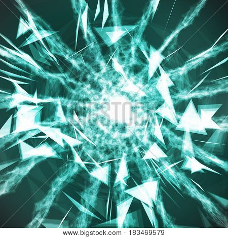 Digital Abstract Background With Glowing Halftone, Flying Debris.