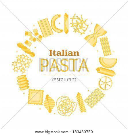 Pasta Round Design Template Banner Card for Bar, Restaurant or Cafe Different Shapes Assortment for Business. Vector illustration