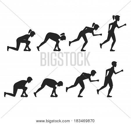 Running People Step Positions Silhouette Black Step by Step. Health Care Concept. Flat Design Style Vector illustration