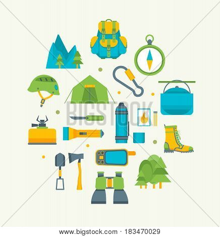 Cartoon Traveling Camping and Hiking Round Design Template Icons Set Flat Design Style Outdoor Summer Leisure. Vector illustration