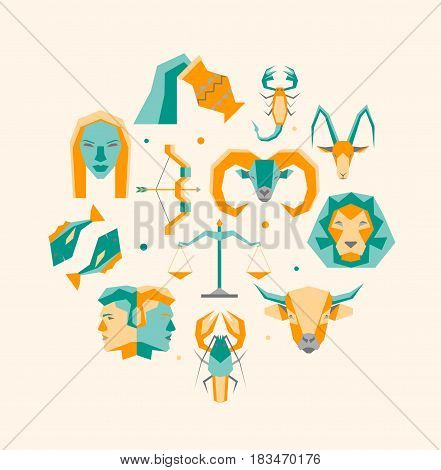 Cartoon Zodiac Symbol Round Design Template Icons Set Flat Style Design Concept Astrological Elements for Web. Vector illustration