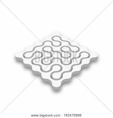 Closed 3D maze. White abstract labyrinth with dropped shadow isolated on white background. Corporate business logotype identity. Vector illustration.