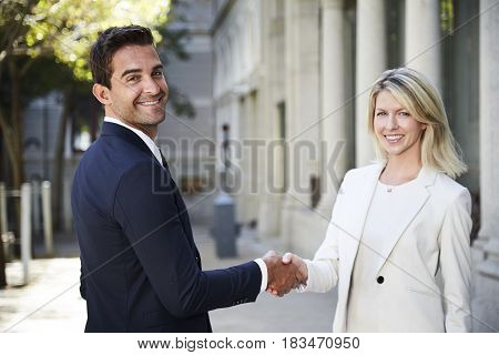 Agreeable business people shaking hands to camera