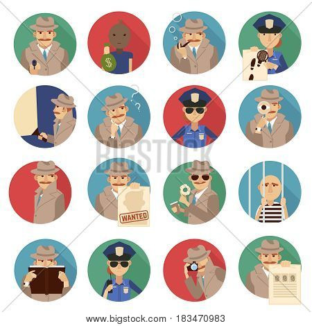 Private detective round icons set with investigation symbols flat isolated vector illustration