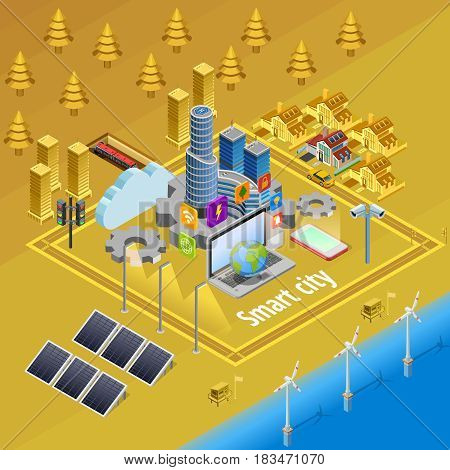 Internet of things smart city infrastructure system concept isometric poster with embedded computer controlled devices vector illustration