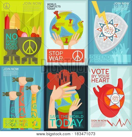 Colorful flat set of social and political propaganda posters isolated vector illustration