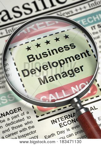 Column in the Newspaper with the Jobs Section Vacancy of Business Development Manager. Business Development Manager. Newspaper with the Jobs. Hiring Concept. Selective focus. 3D.