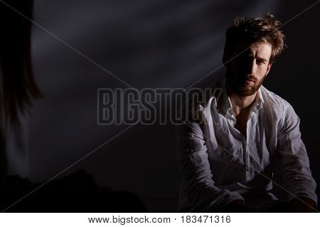 Depressed Man Sitting Alone