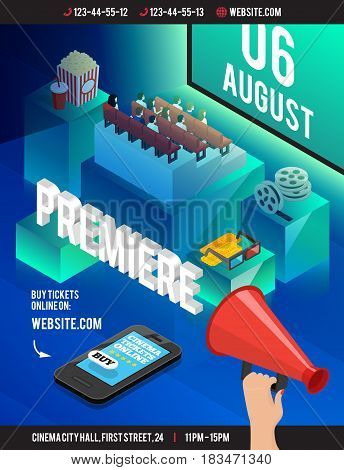 Cinema 3d isometric poster with cumbersome cubes theatre style seating popcorn film reel eyeglasses and smartphone vector illustration