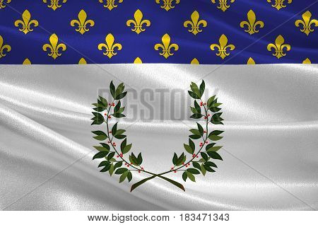 Flag of Reims is a city in the Grand Est region of France. 3d illustration