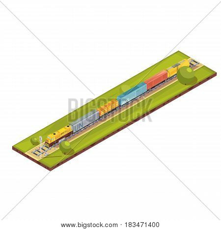 Trains composition with isometric railroad haul image with freight goods train set of cars and trees vector illustration