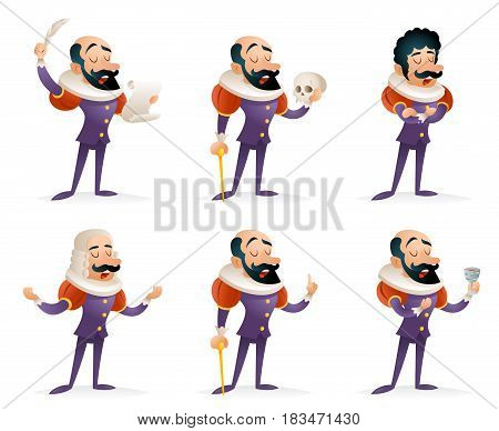 Actor Theater Stage Man Characters Medieval Different Actions Icons Set Cartoon Template Design Vector Illustration