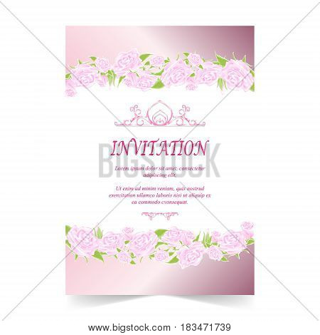 Invitation card wedding card with rose on ivory background