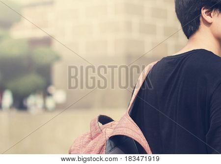 Teen boy going to university routine life